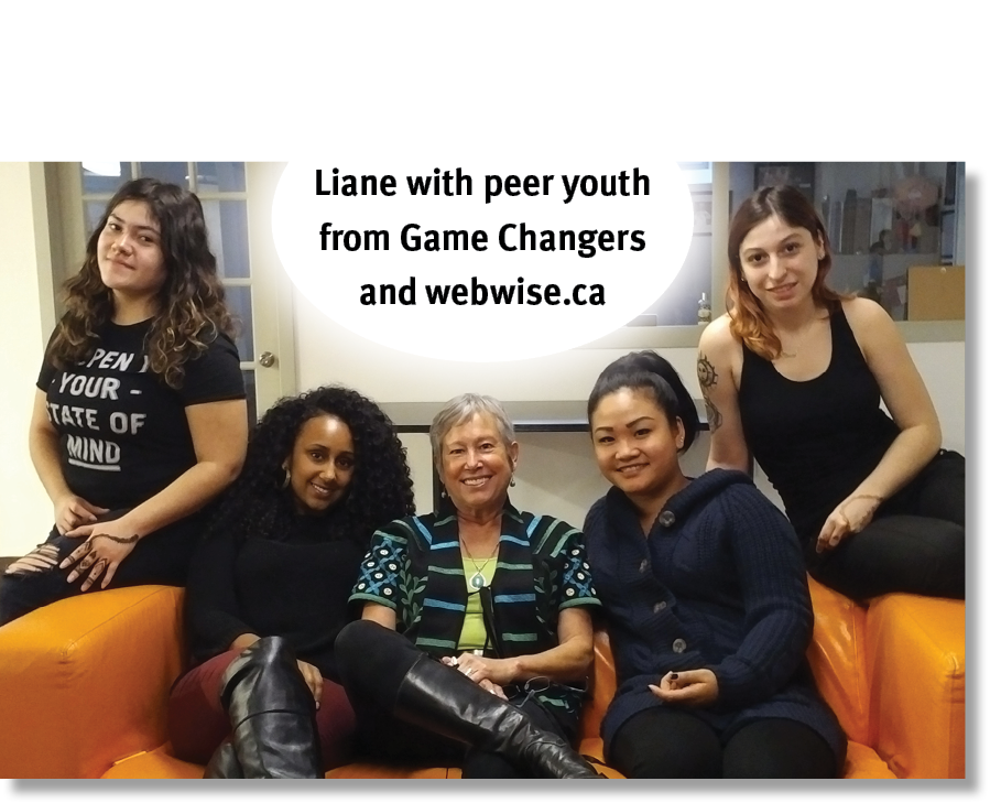 Liane with peer youth from drug education and cyber-defence projects