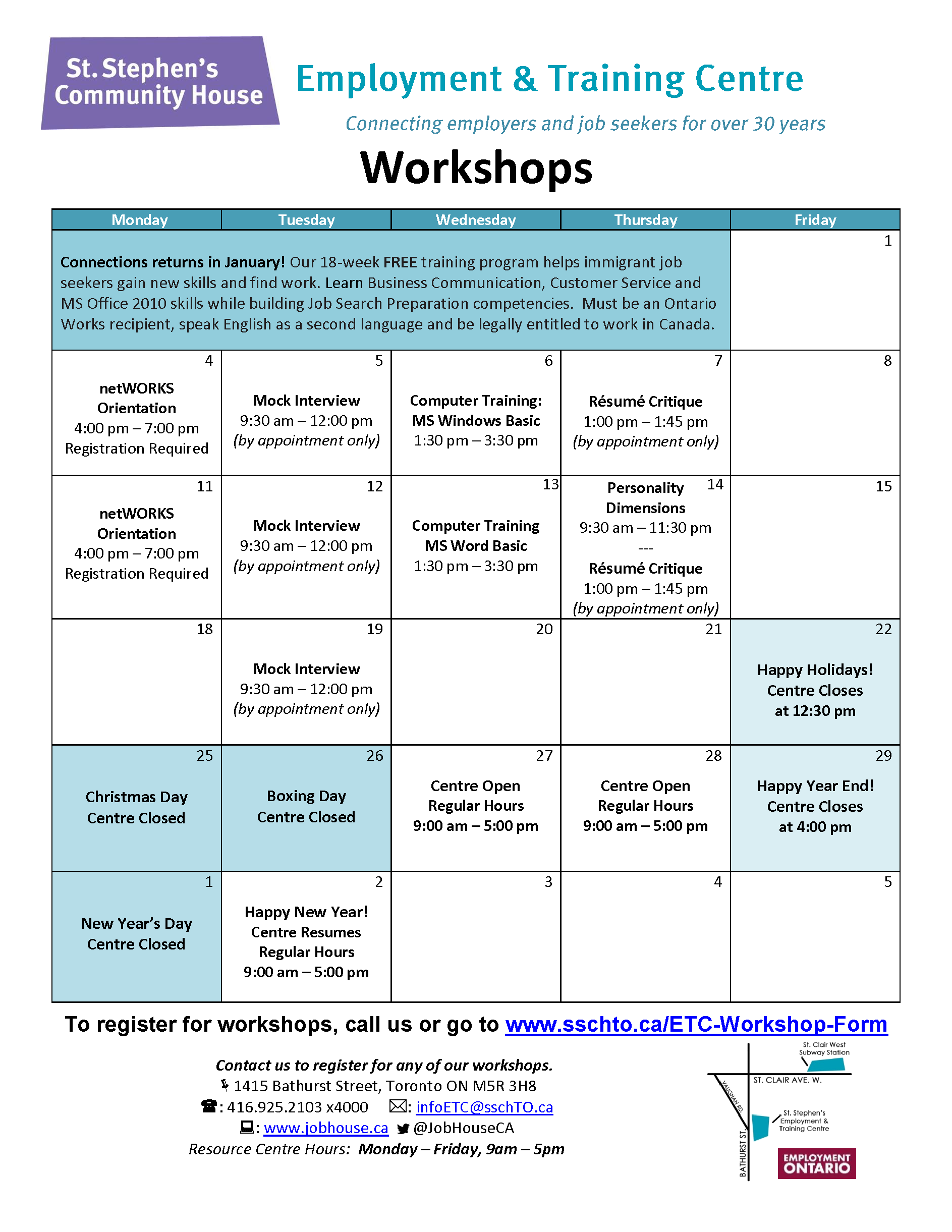 Workshop Calendar