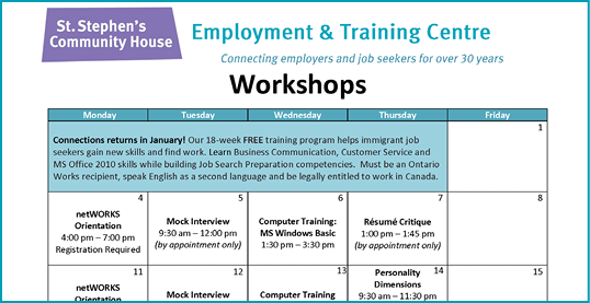 Employment & Training Centre workshops