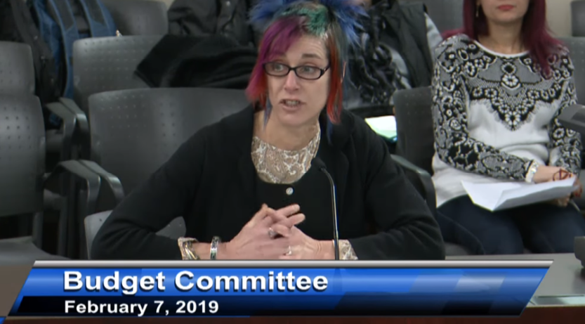 Susan Bender to the City Budget Committee re drop-ins for people who are homeless - February 2019